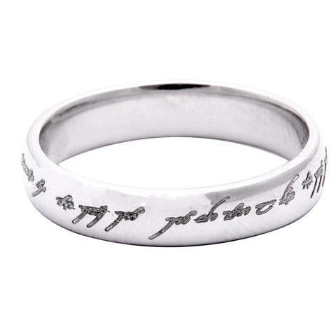 Platinum Engraved Rings - Rings Of Love - Platinum Bands With Elvish Poem Engraved JL PT 438