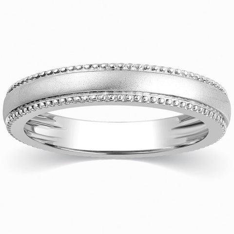Platinum Rings - Super Sale - Milgrain Plain Platinum Wedding Band For Women Ring Size 11 SJ PTO 310-A
