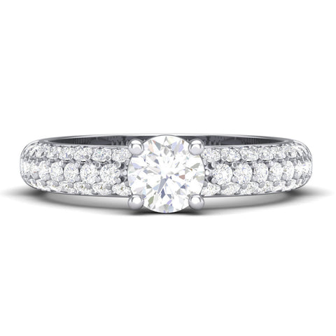 Solitaire Platinum Rings in India - 30 Pointer Platinum Solitaire Engagement Ring With 3 Row Diamonds JL PT 462