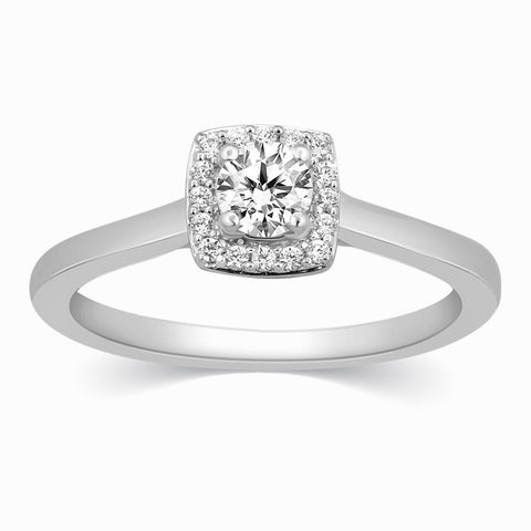 Platinum Solitaire Rings in India - 30 Pointer Square Halo Diamond Platinum Engagement Ring JL PT 325