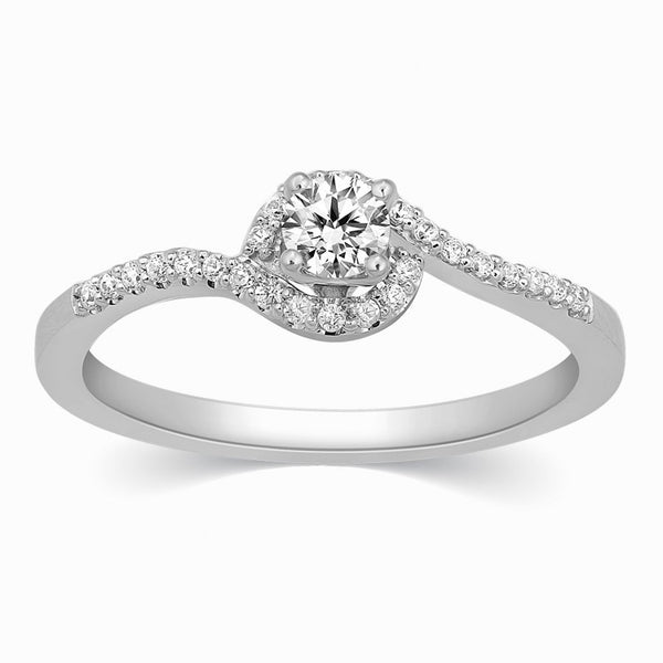 Single Diamond Platinum Rings in India - Designer Solitaire Platinum Ring With Accents In A Curve JL PT 328