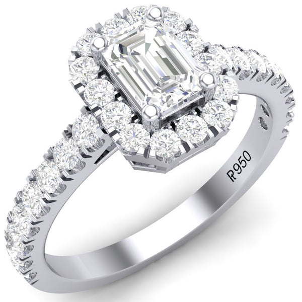 Solitaire Platinum Rings in India - Emerald Cut Solitaire Ring In Platinum Halo Setting JL PT 469