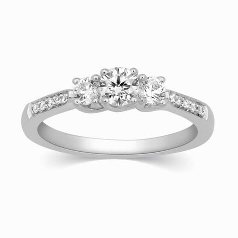 Solitaire Platinum Rings - Platinum Solitaire Engagement Ring With Diamond Accents JL PT 327