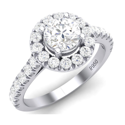 Platinum Solitaire Rings in India - Platinum Solitaire Halo Engagement Ring With Diamond Shank JL PT 465