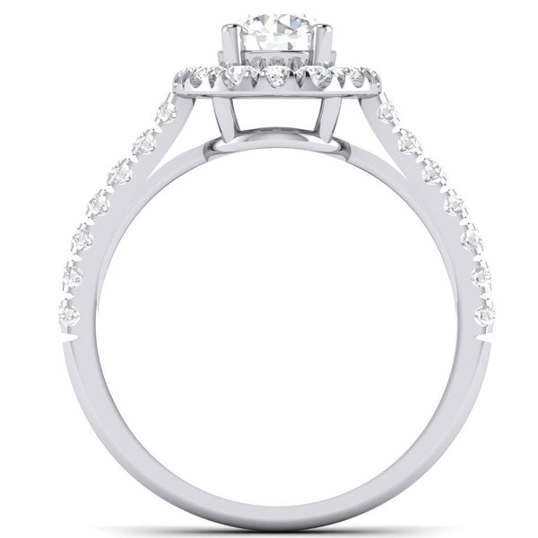 Platinum Solitaire Rings - Platinum Solitaire Halo Engagement Ring With Diamond Shank JL PT 465 Circle View