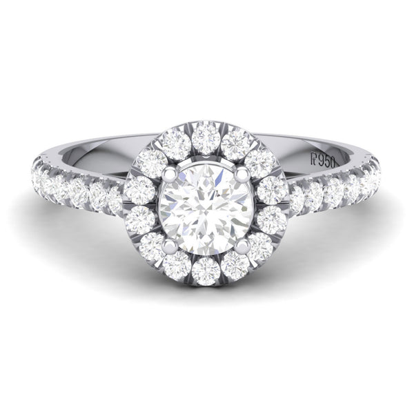 Platinum Solitaire Rings in India - Platinum Solitaire Halo Engagement Ring With Diamond Shank JL PT 465 Table View