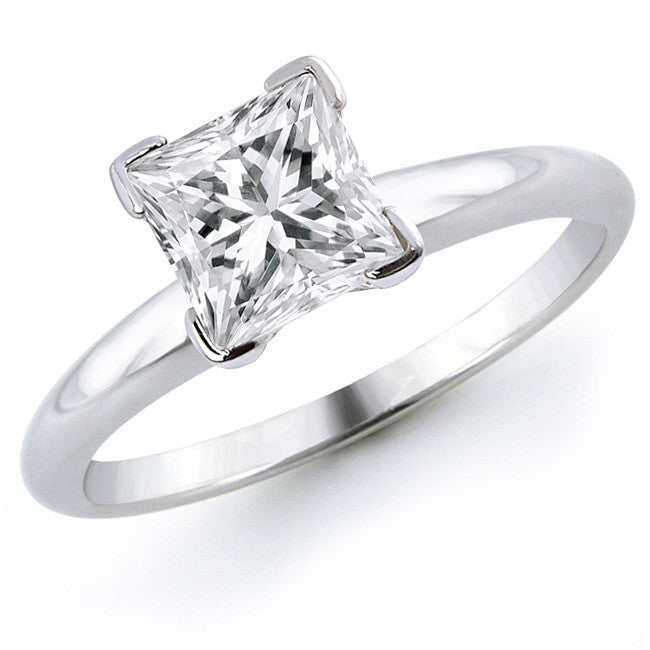 Platinum Solitaire Rings - Princess Cut Solitaire Platinum Ring With 4 Prongs JL PT 440