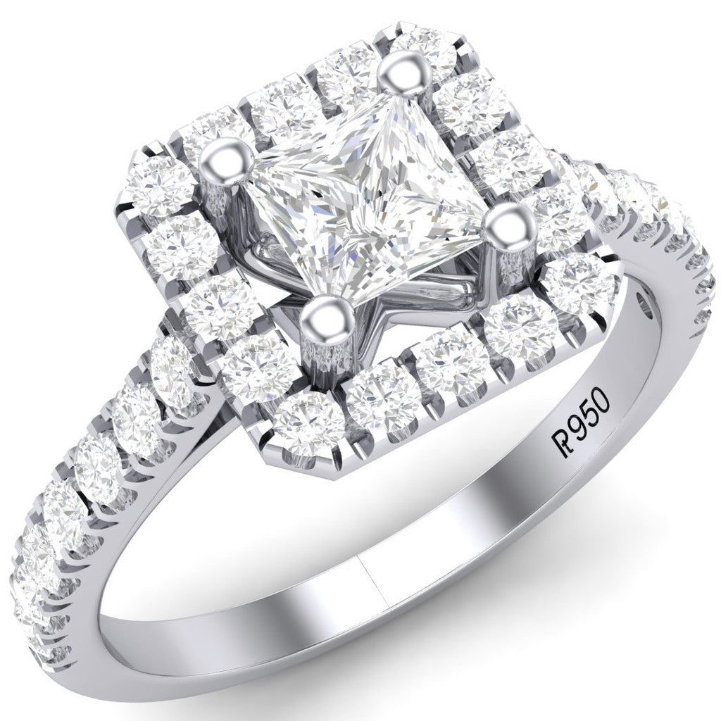 Platinum Solitaire Rings in India - Princess Cut Solitaire Platinum Ring With Halo Setting For Women JL PT 470