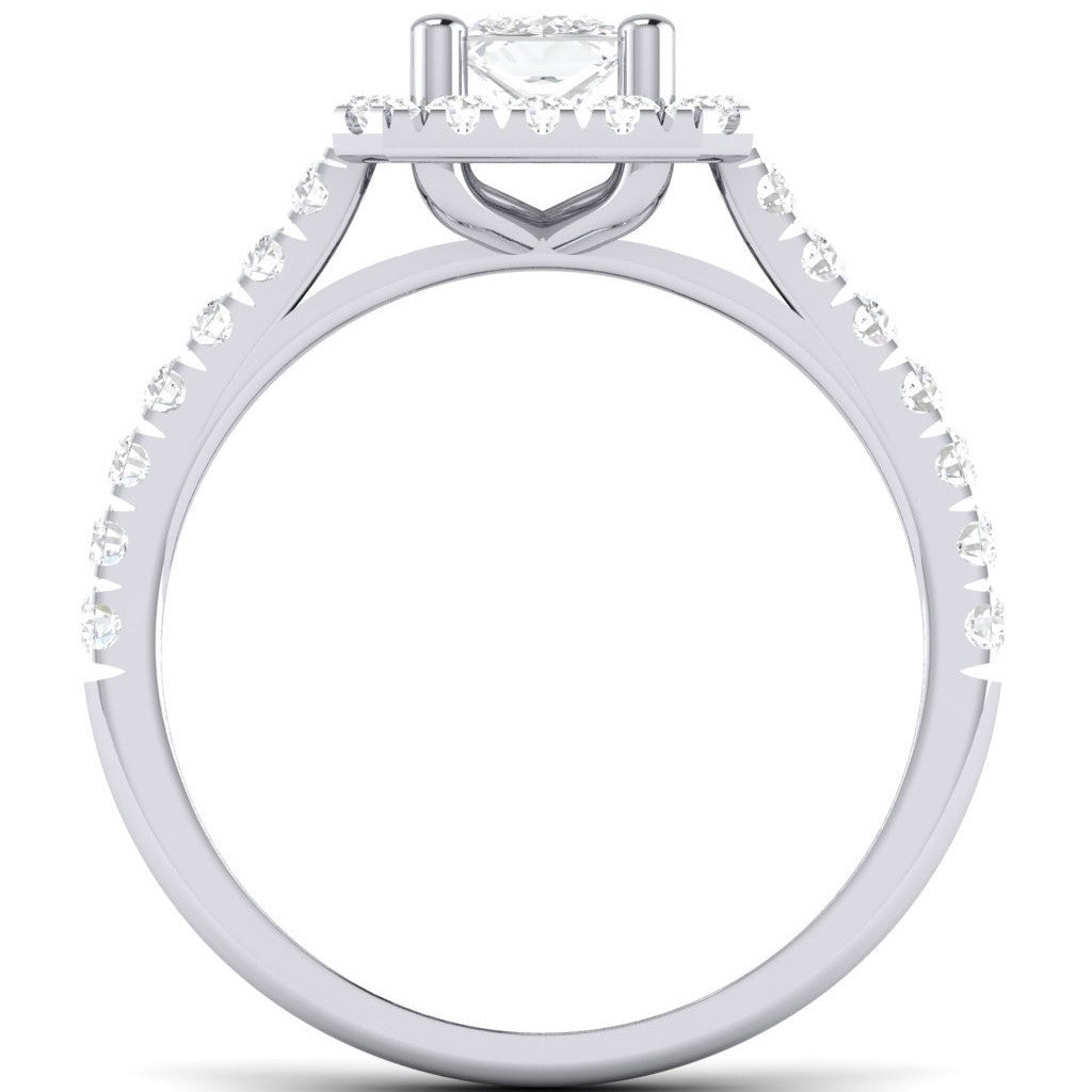 Halo Platinum Setting For Princess Cut Diamond Engagement Ring