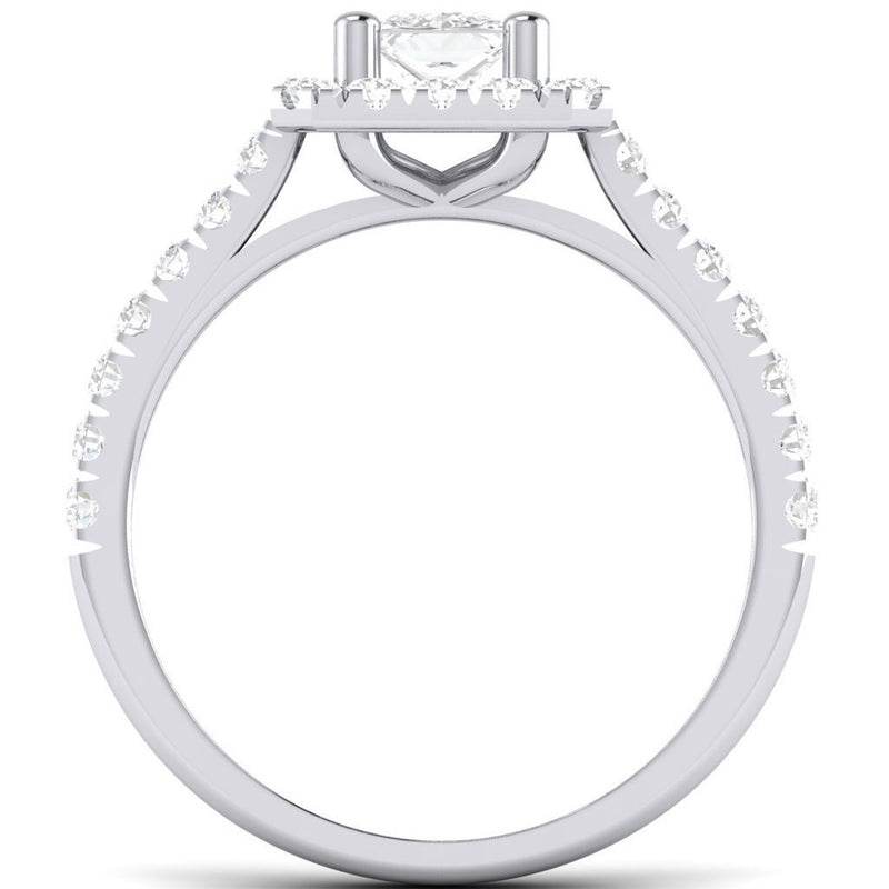 Rings - Princess Cut Solitaire Platinum Ring With Halo Setting For Women JL PT 470