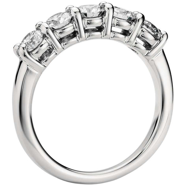 Platinum Diamond Rings in India - 5 Diamond Platinum Wedding Band For Women In Prong Setting JL PT 416