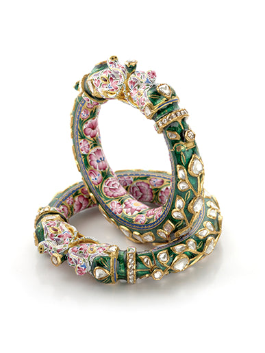 Traditional Indian Polki Bangles - Artistic Elephant Kada Bangle With Diamond Polki, Pink & Green Enamel