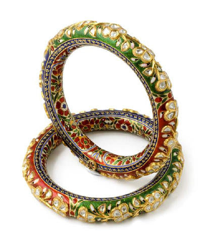 Traditional Indian Bangles - Artistic Diamond Polki Bangle With Red, Green & Blue Enamel