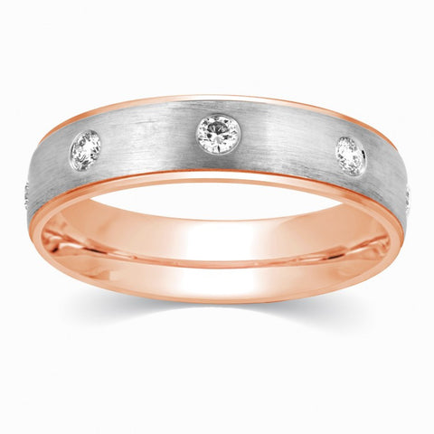 Rings - 3 Diamond Couple Rings 2-Tone Rose Gold & White Gold Band JL AU 114