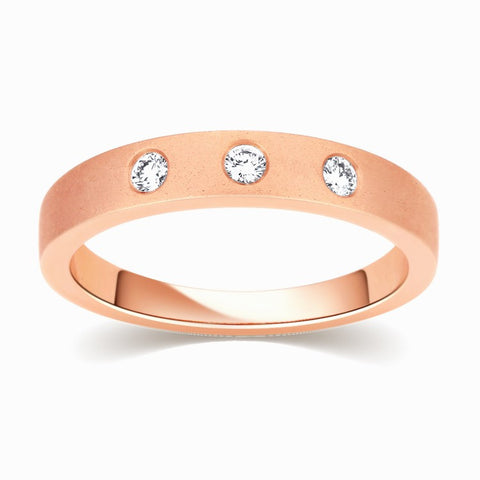Rings - 3 Diamond Rose Gold Band Uni-Sex For Men & Women JL AU 113