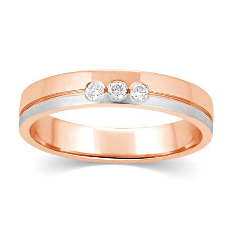 Rings - 3 Diamond Rose Gold White Gold Ring For Women JL AU 115