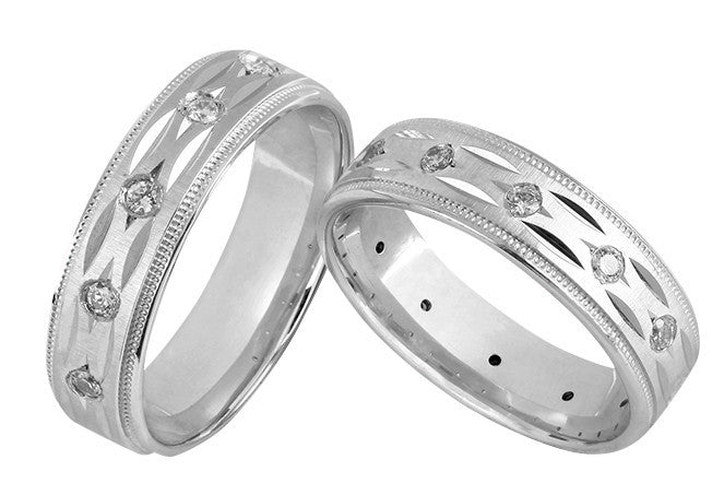 Designer Gold Couple Bands Grooves and Diamonds JL AU 1006 - Suranas Jewelove  - 2