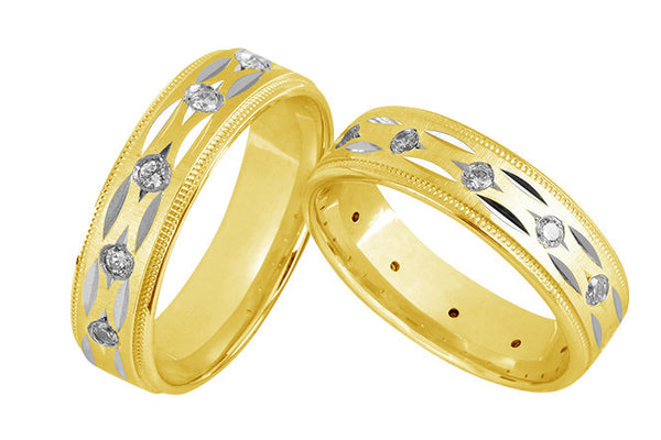 Designer Gold Couple Bands Grooves and Diamonds JL AU 1006 - Suranas Jewelove  - 3