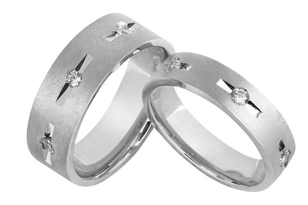 Designer Gold Couple Rings with 3 Diamonds in Grooves JL AU 1025 in India