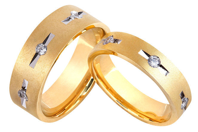 Designer Gold Couple Rings with 3 Diamonds in Grooves JL AU 1025