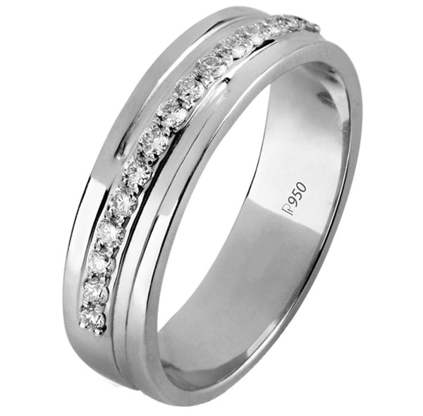 Designer Half Eternity Platinum Ring with Slanting Diamonds SJ PTO 291 in India