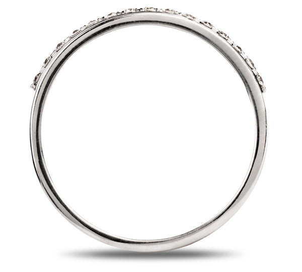 Designer Half Eternity Platinum Ring with Slanting Diamonds SJ PTO 291 - Suranas Jewelove  - 3