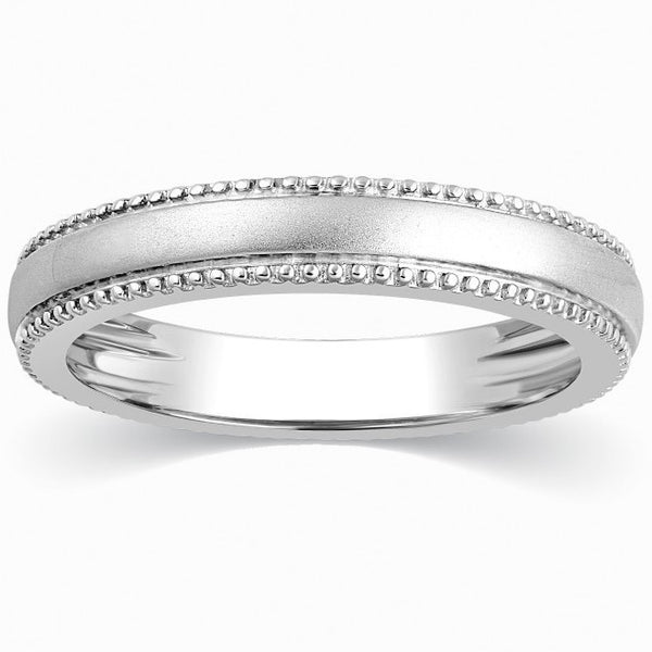 Designer Milgrain Plain Platinum Wedding Band with Matte Finish SJ PTO 310 - Suranas Jewelove  - 1