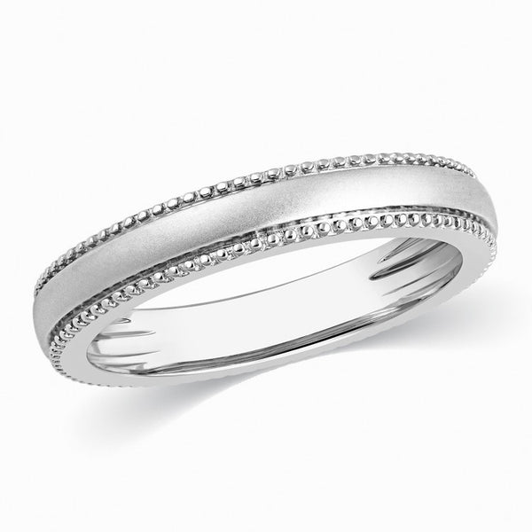 Designer Milgrain Plain Platinum Wedding Band with Matte Finish SJ PTO 310 - Suranas Jewelove  - 2