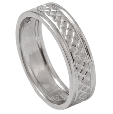 Designer Plain Platinum Band with Square Texture for Men SJ PTO 289 - Suranas Jewelove  - 1
