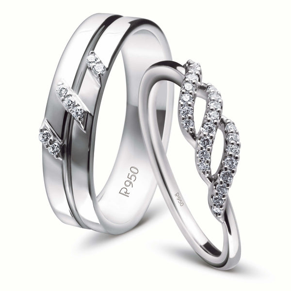 Rings - Designer Platinum Couple Rings With Diamonds JL PT 452