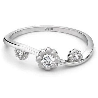 3 Diamond Platinum Ring for Women JL PT 13