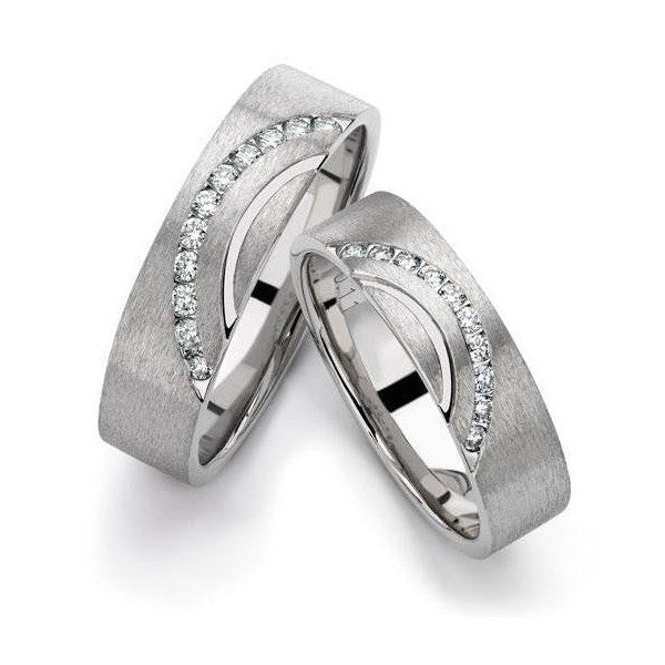 Designer Platinum Love Bands with Diamonds in a Curve SJ PTO 237 in India