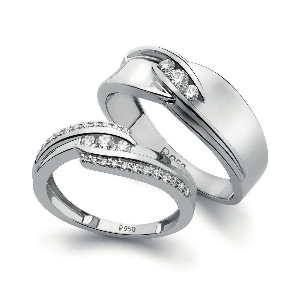 Designer Platinum Love Bands with Diamonds SJ PTO 152 in India