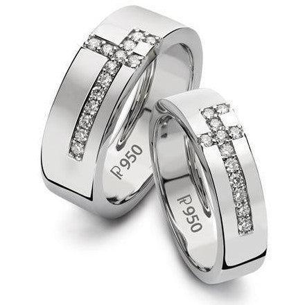 Designer Platinum Love Bands with Diamonds SJ PTO 162 in India