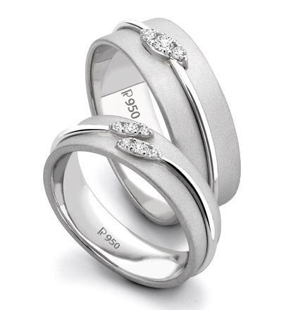 Designer Platinum Love Bands with Diamonds SJ PTO 238 in India