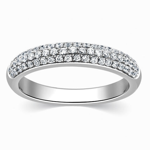 Designer Platinum Wedding Band with Diamonds for Women SJ PTO 317 in India