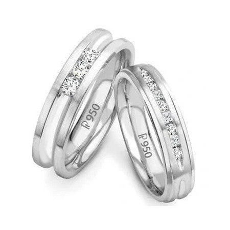 Designer Platinum Wedding Bands with Diamonds SJ PTO 239