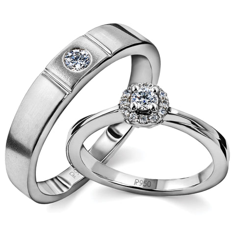 Designer Platinum Wedding Bands with Diamonds SJ PTO 239 - Suranas Jewelove