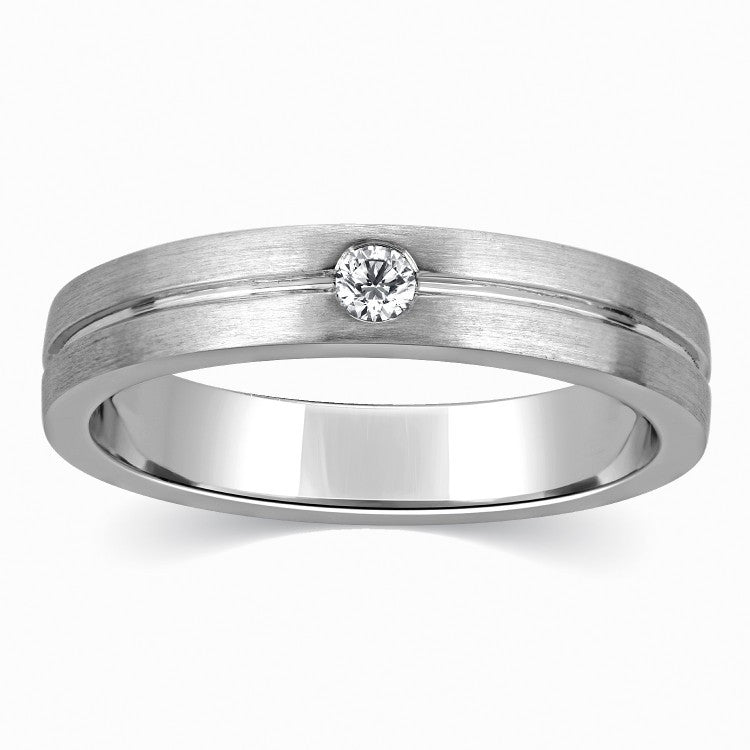 Designer Single Diamond Platinum Ring for Men SJ PTO 309 in India