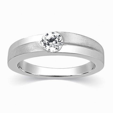 Designer Solitaire Platinum Engagement Ring for Men SJ PTO 315 in India
