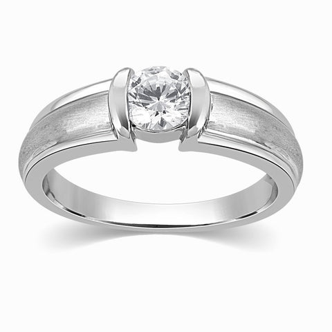 Designer Solitaire Platinum Engagement Ring for Men SJ PTO 316 in India