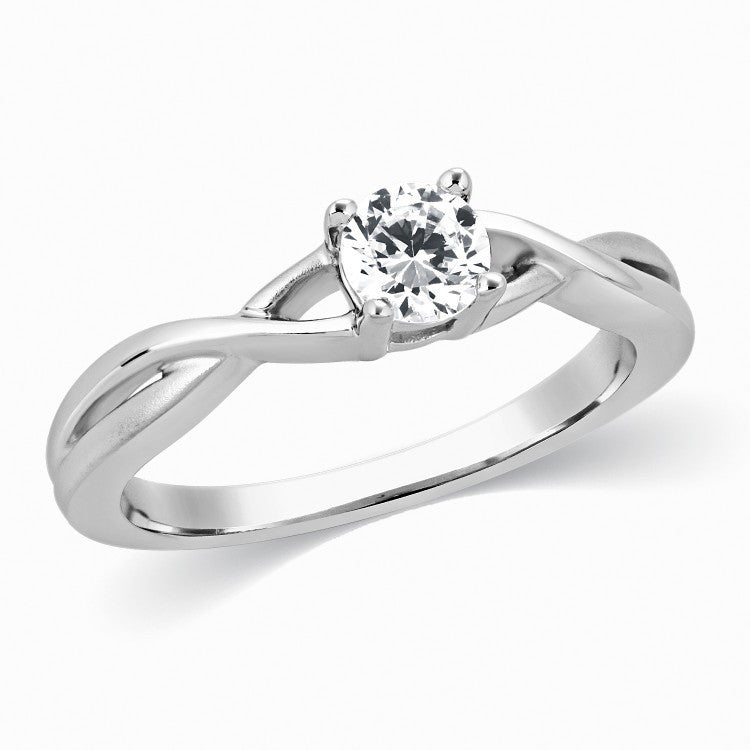 Designer Solitaire Platinum Ring with Twists SJ PTO 320 in India