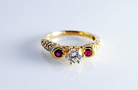Designer Solitaire ring with Ruby and Diamonds SJ R 671 in India
