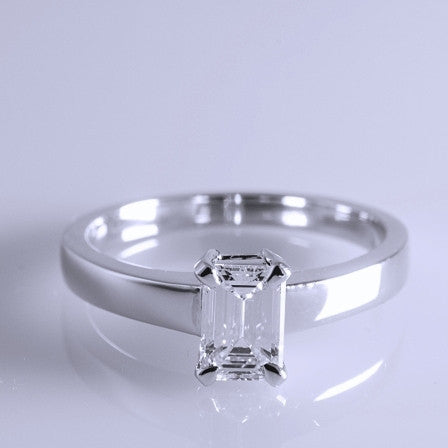 E VVS1 Emerald Cut Diamond Solitaire Ring SJ R 2304 in India