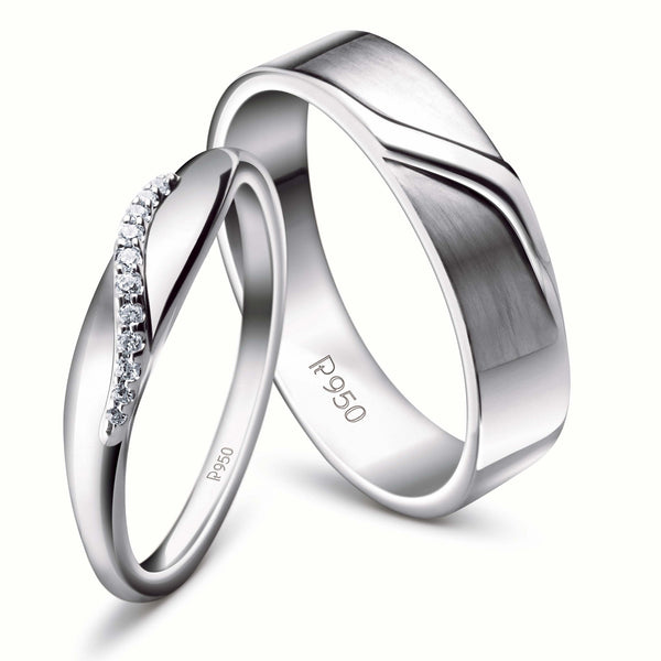 Rings - Elegant Platinum Couple Rings JL PT 453