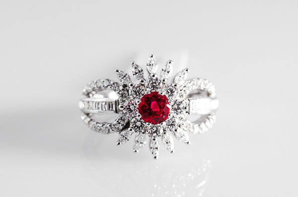 Fine Red Ruby Ring with Diamonds SJ R 648 in India