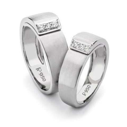 Heavy Platinum Love Bands with Diamonds SJ PTO 126 in India
