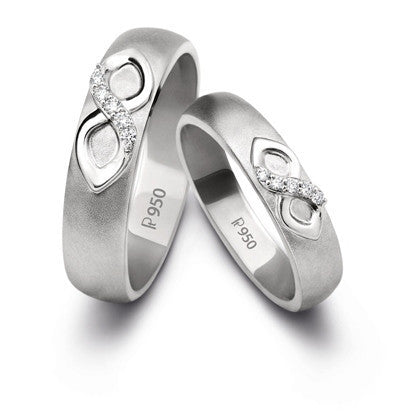 Infinity Platinum Love Bands with Diamonds SJ PTO 212 in India