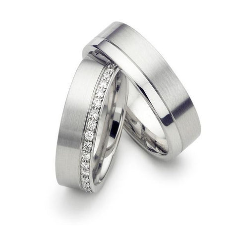 Matte Finish Platinum Love Bands SJ PTO 287 - Suranas Jewelove