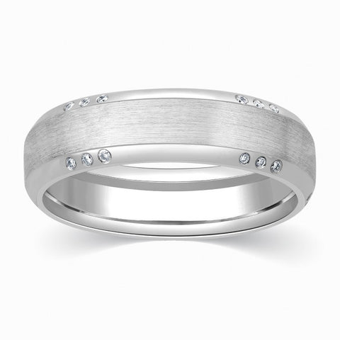 Matte Finish Platinum Ring for Men with Tiny Diamonds SJ PTO 295 - Suranas Jewelove  - 1